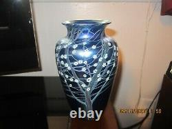 Orient & Flume Studio Hawthorne Blue Iridescent Landscape Art Glass Vase