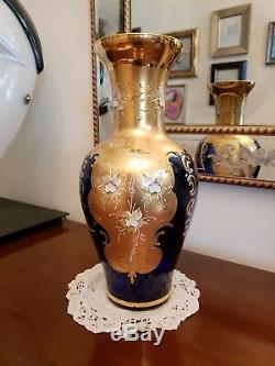 Original Vintage Barbini Murano Vase Cobalt Hand Enamel Gold Decoration