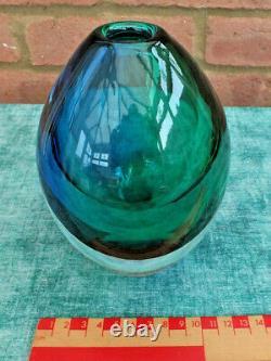 Orrefors Erika Lagerbielke Blue And Green Rosebud Contempary Vase