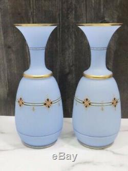 PAIR Antique Blue Opaline French Enameled Glass Vases 12