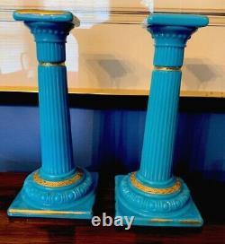 Pair Antique Blue Opaline Glass Candlesticks