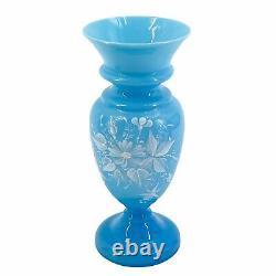 Pair Antique Victorian Bristol Blue Glass Flower Vases Hand Painted Enameled