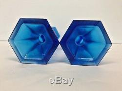 Pair Chinese Blue Glass Vases