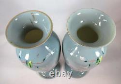 Pair Hand-painted Bristol Blue/gray Vases Birds & Flowers