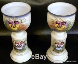 Pair Of BRISTOL Opaque Glass Vases Hand Painted PANSIES GOLD TRIM 10 TALL