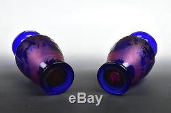 Pair Signed Antique New England Glass Co Cobalt Engraved to Cranberry Cut Vases