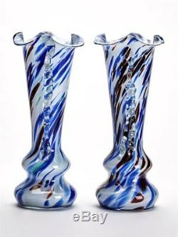 Pair Vintage Murano End Of Day Overlay Glass Vases C. 1960