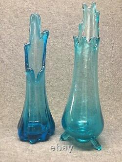 Pair mid century vintage swung stretched blue glass vases Smith footed