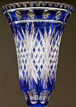 Pairpoint Cut-to-Clear Cobalt Vase