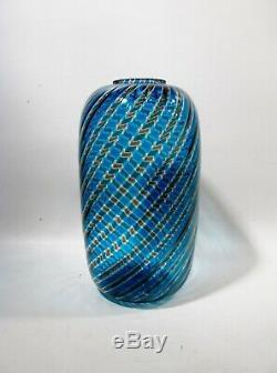 Paolo VENINI Midcentury Swirl Canes Vase Italian Venetian Murano Glass