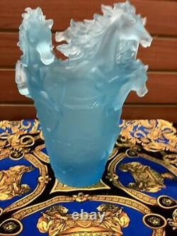 Pate De Verre Nancy Daum Style Horse Vase Light Blue Ombré 16/1722cm Heavy 9lb