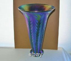 Phenomenal LUNDBERG STUDIOS Glass VASE Intensely IRIDESCENT Blue PURPLE Gorgeous