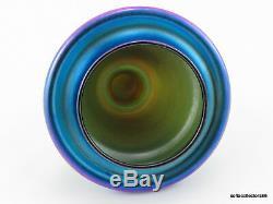 Quezal Art Glass Blue Lustre Tall Lidded Urn or Vase ca 1920s