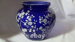 RARE 1930's CAMBRIDGE 7 x 8 VASE JAPONICA HAWTHORNE COBALT ROYAL BLUE WOW