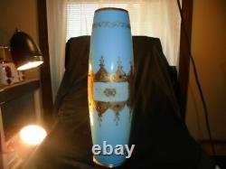 RARE! ANTIQUE BLUE CASED GLASS VASE Encrusted GOLD ENAMELED St. Louis France