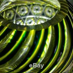 RARE Bohemian CUT TO COBALT CANARY YELLOW Vaseline CUT GLASS ROSE BOWL VASE