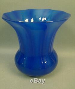 RARE CARDER/ STEUBEN DARK BLUE JADE LAMP SHADE VASE With ORIGINAL LABEL
