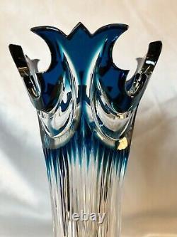 RARE Czech Caesar Bohemian Azure Blue Cut to Clear Crystal Diadem Vase
