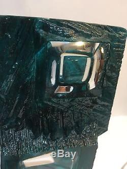 RARE Daum Crystal Large 10 Blue Argos Cubist Modernist Vase Cesar Baldaccini