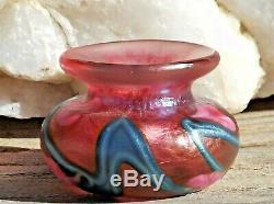RARE Miniature Vase Art Glass Signed JOHN LOTTON Blue Vines Pink Lily 1991 MINT