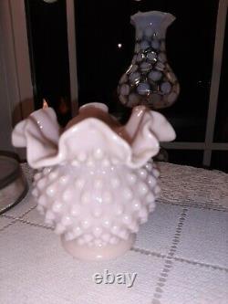 RARE! Vintage Fenton Pastel Pink Milk Hobnail Rose Bowl! EXCEPTIONAL&VERY RARE