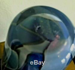 ROBERT EICKHOLT 2004 Art Glass Vase 8.25 Shades of Blue Sparkle Signed MINT