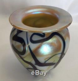 ROBERT EICKHOLT ART GLASS 6 VASE IRIDESCENT Abstract Swirl Blue Gold 2002 Signd