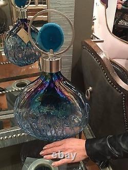 Rae 19 Modern Sugar Spun Glass Decorative Bottle Agate Stone Top Uttermost