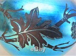 Rare 10.5 STEUBEN BLUE AURENE Engraved Blackberry Art Glass Vase c. 1915
