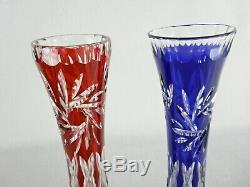 Rare Antique BACCARAT Crystal Pair Sapphire Blue & Cherry Red Soliflore Vase