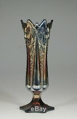 Rare Brockwitz Carnival Glass Cobalt Blue Footed Prism Panels Vase c. 1910