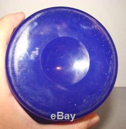 Rare Carder Steuben Dark Blue Jade 9 Vase