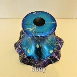 Rare Design Durand Hearts & Vines Ruffled Top Vase Purple & Blue- Steuben Era