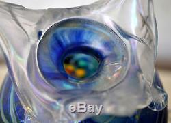 Rare Early Tina Cooper Blue Iridescent Art Glass Vase Sculpture 1996 Australian
