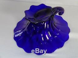 Rare Heisey Elegant Glass Stiegel Cobalt Blue Warwick Cornucopia Vase
