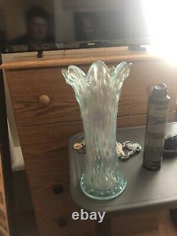 Rare Ice Blue carnival glass Tree Bark Large Vase