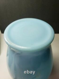 Rare Mckee Glass Chalaine Blue Sarah Ruffled Glass Vase