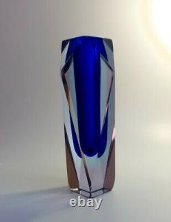 Rare Shape 1970s Alessandro Mandruzzato Blue Sommerso Murano Faceted Glass Vase