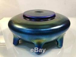 Rare Steuben Blue Aurene 8-Stem Flower Vase Bowl 8 Wide Excellent Condition