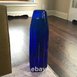 Rare Vintage BLENKO Large Vase with Original Foil Sticker Cobalt Blue