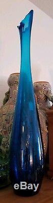 Rare Vintage Blenko 25 Blue Vase #7223