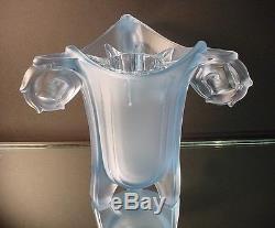 Rare Walther & Sohne Art Glass Harald Art Deco Vase withFrog Blue Satin Glass