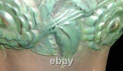 Rene Lalique 1930 Frosted Orleans Vase with Green-Blue Patina. 8. Repaired Rim