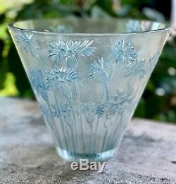 René Lalique Bluets Vase #909 c1914 Excellent Condition Signed R Lalique (Rene)