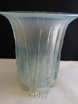 Rene Lalique c 1925 R. Lalique Eucalyptus Vase Opalescent with Turquoise Patina