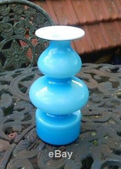 Retro / Vintage Holmegaard Cased Carnaby Vase Blue & White