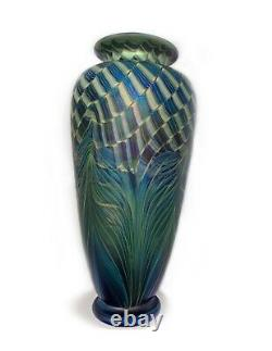 Rick Satava Spectacular Hand Blown Art Glass Vase Signed 9 Tall, Iridescent