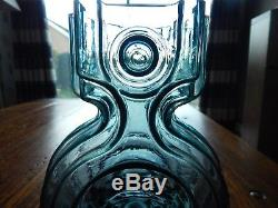 Riihimaki/Riihimaen Lasi Oy Glass Aitanlukko Vase in Blue Grey Helena Tynell