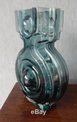 Riihimaki/Riihimaen Lasi Oy Glass Aitanlukko Vase in Blue Grey Helena Tynell 2