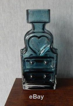 Riihimaki/Riihimaen Lasi Oy Glass Piironki Vase in Blue Grey Helena Tynell